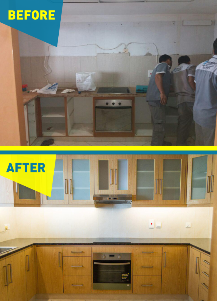 before after graphic of Kitchen renovation in Dubai