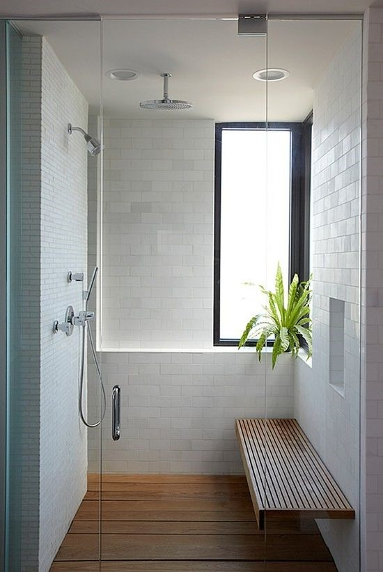 bathroom with spa bench.