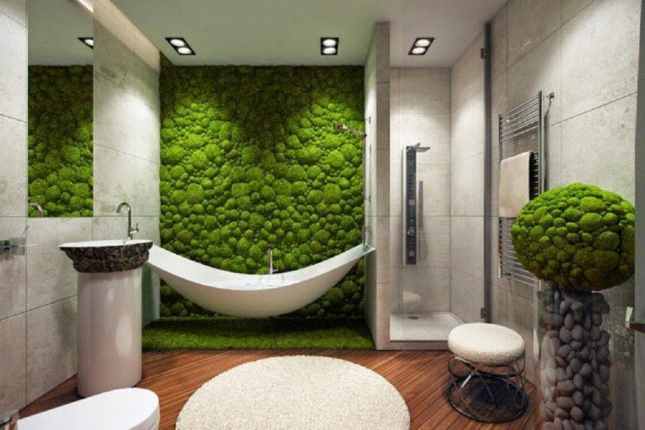 Moss wall in white bathroom - Taskmasters Dubai