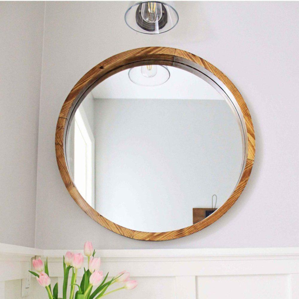 wooden round mirror - Taskmasters Dubai