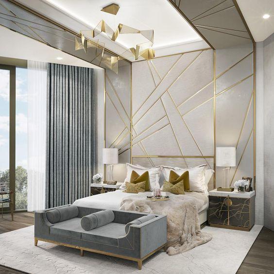 Golden elements in the bedroom - Taskmasters
