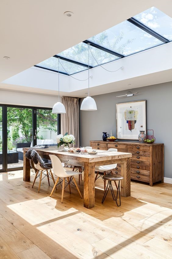 Open ceiling in dining room - Taskmasters