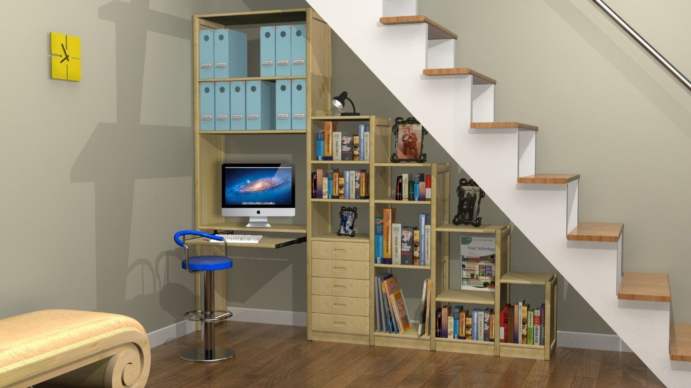 Staircase with attached bookshelf - Task Masters, Dubai