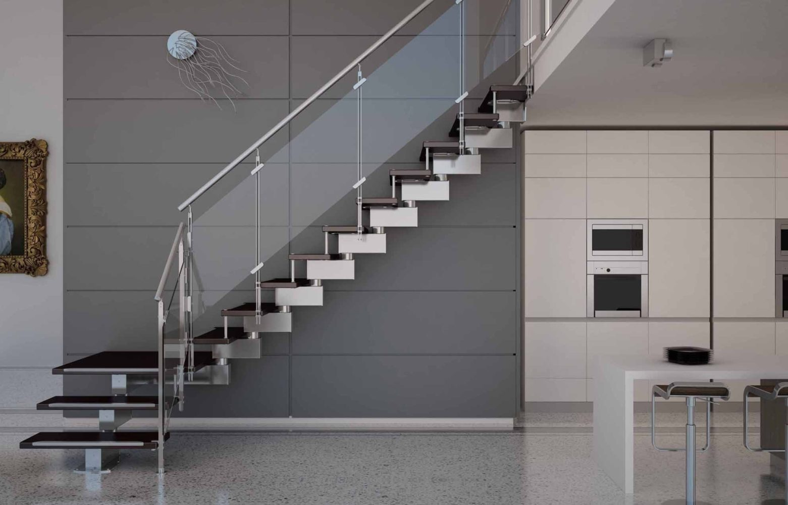Staircase with the glass railing - Task Masters, Dubai