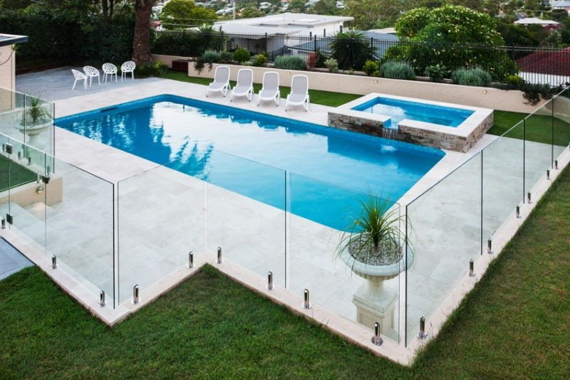 Transparent fencing around pool - Task Masters, Dubai