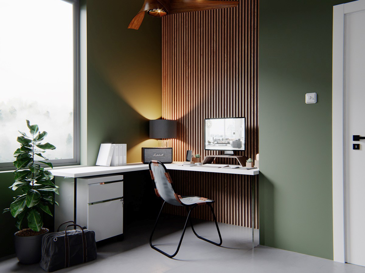 home workspace with wooden wall - Taskmasters, Dubai